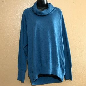 Z by Zella Blue Cowl Neck Pullover Sweater Hi Low